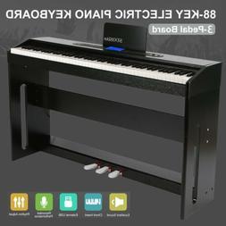 88 Key LCD Digital Electric Piano Keyboard w/ 3 Pedal Board