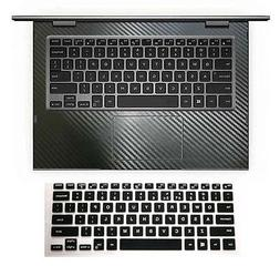 black carbon fiber Wrist Skin + Keyboard Cover for Dell Insp