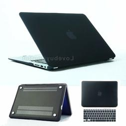 Black Hard Rubberized Case Cover + Keyboard Cover for Apple