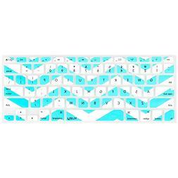 Kuzy Teal Hot Chevron Zig-Zag Keyboard Cover for MacBook Pro