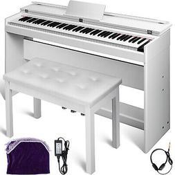 Electric Piano 88 Keys W/3-Pedal Board + Bench Keyboard Whit