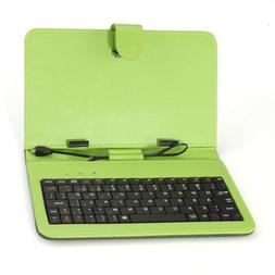 SODIAL Green Case Cover Keybaord Stand for 7 inch Micro USB