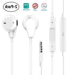 Palytte 2-Pack Premium Earphones Earbuds Headphones with Ste
