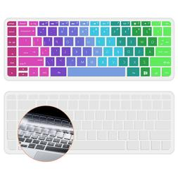 """Keyboard Cover Skin For HP 14"""" Laptop Rainbow and Clear 2 Pa"""