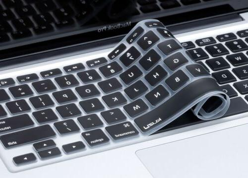 Kuzy - BLACK Keyboard Cover Silicone Skin for MacBook Pro 13