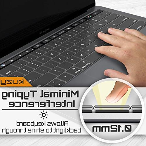 Kuzy Keyboard Cover for NEWEST MacBook with Touch Bar or Release 2017 2016 Skin - Transparent-CLEAR