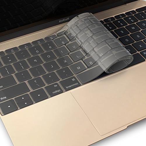 Kuzy Ultra Thin Clear Keyboard Cover MacBook A1708 2016 & MacBook 12 A1534 Soft - Clear