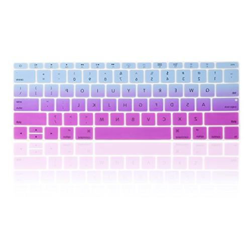 TOP Ombre keyboard Cover Silicone Skin Pro 13 Release & / Macbook A1534 & Purple