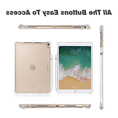 Valkit iPad 10.5 Back Cover, Pro Shockproof Protective Cover for New fit Apple with Apple Holder, Clear