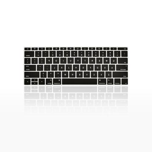 "Black Keyboard Cover Silicone Skin for New Macbook 12"" with"