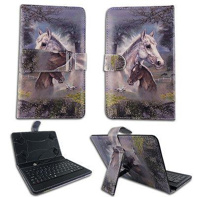 "Horses  For Sanoxy  7"" Tablet USB Keyboard Case Cover Stand"