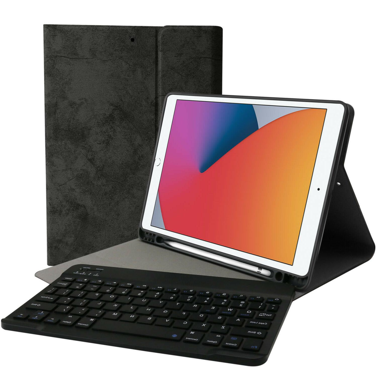 For iPad 8th/7th Smart Case Leather Keyboard