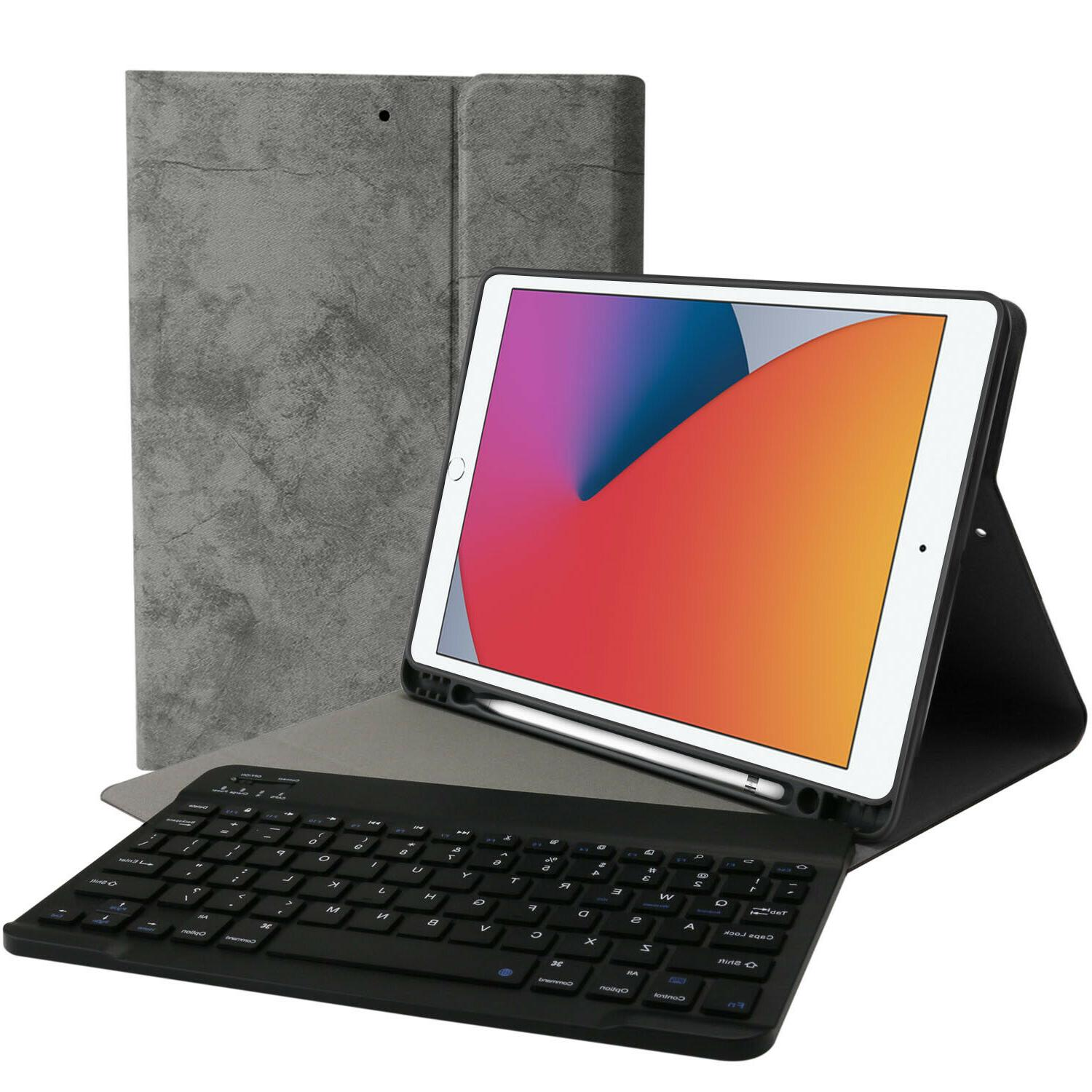 For iPad 8th/7th Generation Smart Leather Stand Cover Keyboard