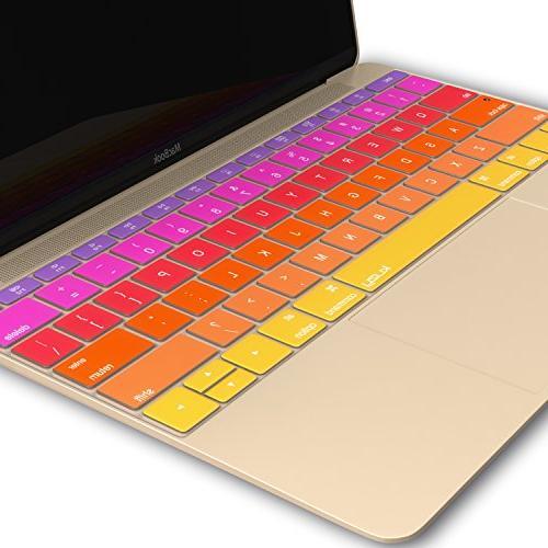 Kuzy Ombre ORANGE Keyboard Cover MacBook 13 inch 2016 A1534 NEWEST Silicone Skin - ORANGE