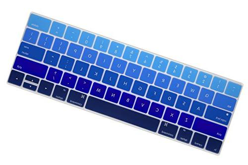 DHZ Cover Silicone Skin New MacBook Pro 13 15 with Touch Bar Layout Ombre Blue