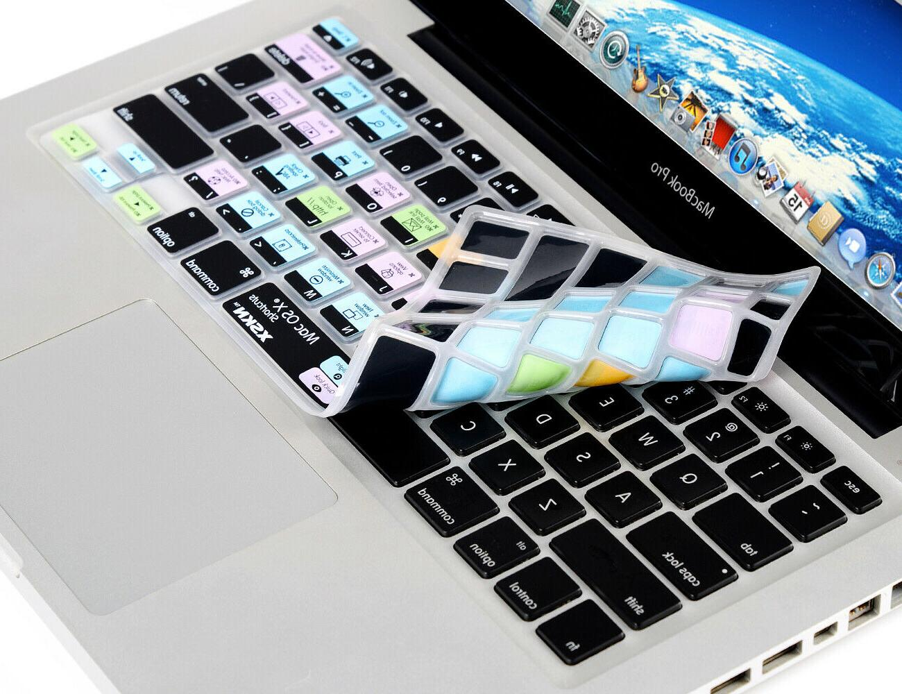 XSKN Mac OS X Shortcut Keyboard Cover Skin for old Macbook Pro 13 15