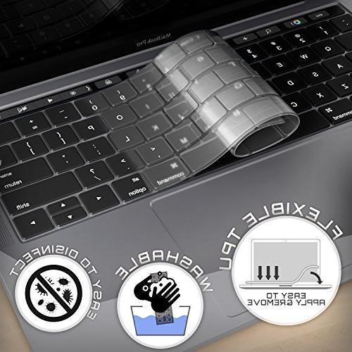 Kuzy - Keyboard Cover MacBook Pro with Bar Release MacBook Keyboard Cover Premium Ultra Thin Protector TPU Skin -