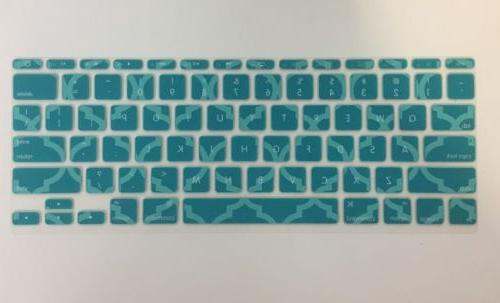 New MacBook Keyboard Cover Topcase Quatrefoil Teal Laptop Si