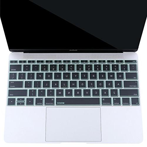 MOSISO Premium Soft Ultra Thin Transparent Keyboard Cover MacBook Pro 13 Inch & No Bar New A1534 Skin, Green