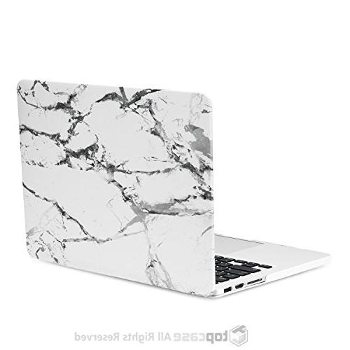 """TOP 1 White Marble Rubberized Hard and Cover Compatible Apple Older Generation Pro 13"""" Model: A1425 -"""