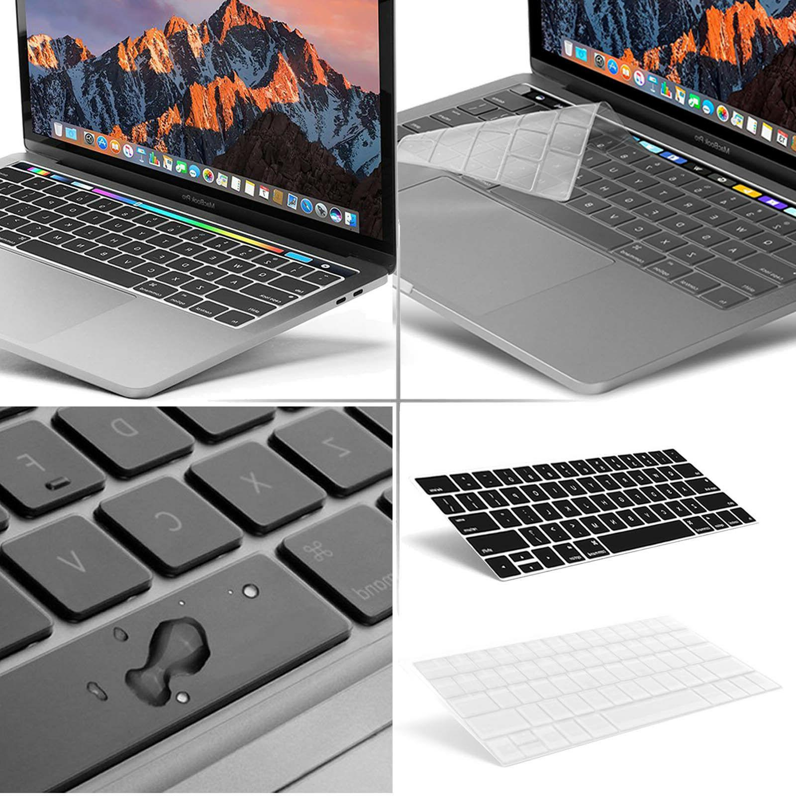 2-Pack Black/Clear Keyboard Cover For MacBook A1706 A1708 A1
