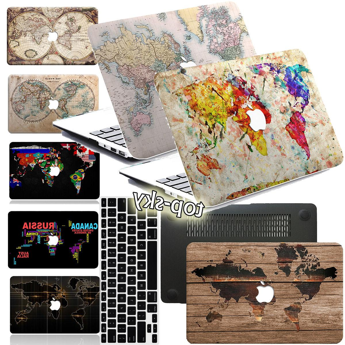 World Map Painted Hard Rubberized Case Cover For Macbook Pro