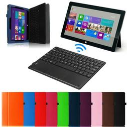 Leather Case Cover w/ Wireless Bluetooth keyboard for Micros