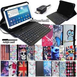 "Leather Stand Cover Case With Keyboard For 7"" 8"" 10"" Samsung"