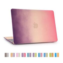 Macbook 12 Inch Case,Dowswin 3 in 1 Rainbow Color Soft-touch