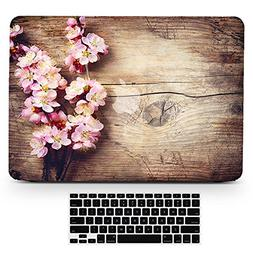 Bizcustom Macbook Wood Grain Pink Cherry Blossom Flower Flor