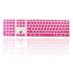 Pink Ultra Thin silicone keyboard cover with a numeric keypa
