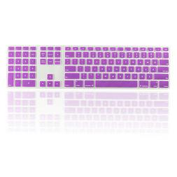 Purple Ultra Thin silicone keyboard cover with a numeric key