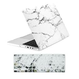 TOP CASE 2 in 1 White Marble Rubberized Hard Case and Keyboa