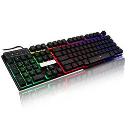 JUDYelc Wired Gaming Keyboard USB Port Keycaps Backlight Wir