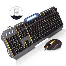 JUDYelc Wired Keyboard and Mouse Sets Metal Mechanical Feel