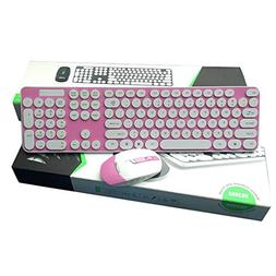 Wireless Keyboard and Mouse Combo Bright Color Silent Click